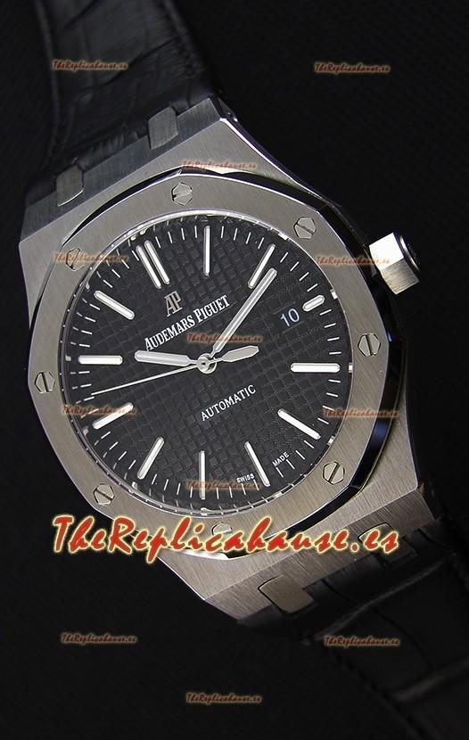 Audemars Piguet Royal Oak 41MM Dial Negro Correa de Pïel - Reloj Réplica a Espejo 1:1 Última Edición