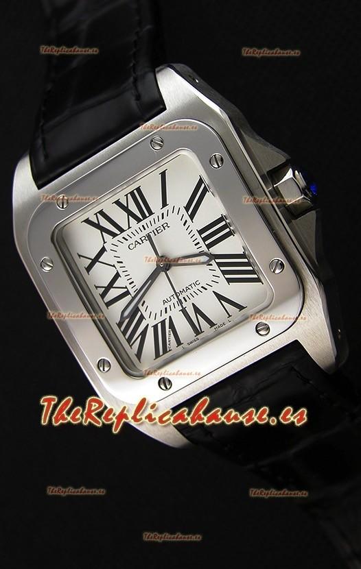 Cartier Santos De Cartier Reloj Réplica a Espejo 1:1 Correa Negra 33MM Reloj de Mujeres