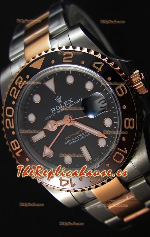 Rolex GMT Masters II 126711CHNR Réplica Suiza en Oro Rosado de Dos Tonos -  Reloj Ultimate de Acero 904L
