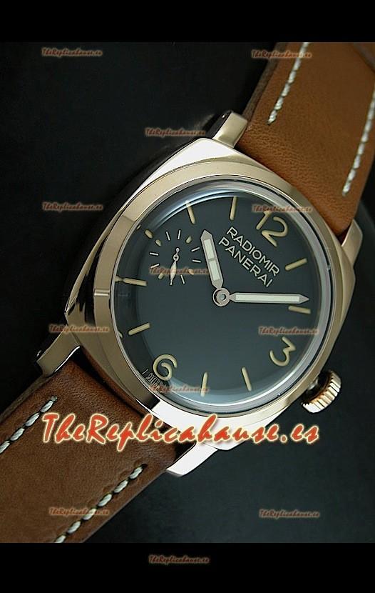 a541c0dd6469 Panerai Radiomir Swiss Vintage de oro rosado con malla marrón. RH-ES ...