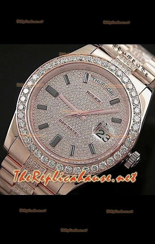 Rolex Daydate Ii Reloj Suizo 41mm En Oro Rosa Y