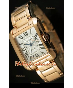 Cartier Tank Anglaise Mid Sized, Reloj Réplica Suiza color Oro Rosado - Réplica en escala 1:1
