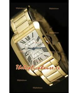 Cartier Tank Anglaise Mid Sized, Reloj Réplica Suiza color Oro Amarillo - Réplica en escala 1:1