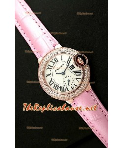 Ballon De Cartier Reloj para Señoras de Oro Rosa en Correa de Piel