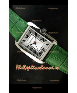 Cartier Tank para damas Réplica Cascasa de acero/Malla verde