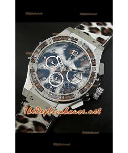 Hulbot Big Bang Edición Leopardo con estuche de acero inoxidable