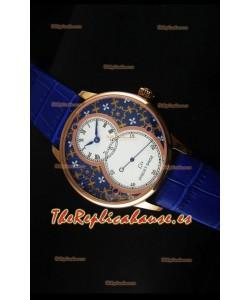 Jaquet Droz Grande Seconde Reloj en Oro Rosado Dial Azul Grand Feu paillonné-enameled