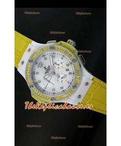 Hublot Big Bang para mujeres, Edición Tutti Frutti, Correa Amarilla, tamaño 34MM