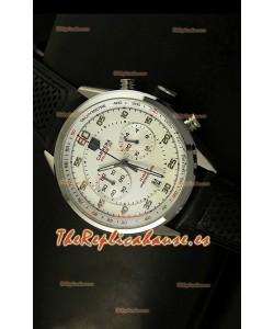 Tag Heuer Carrera Calibre 36 Flyback Reloj Réplica, Dial Blanco - Movimiento de Cuarzo
