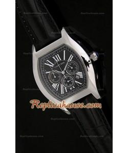 Cartier Tortue Reloj Crónografo Japonés de Cuarzocon Esfera de color Negro