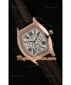 Cartier Tortue Reloj Cronógrafo Japonés de Cuarzo en Oro Rosa
