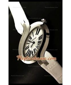 Delices De Cartier Reloj Réplica para Señoras en Piel Blanca