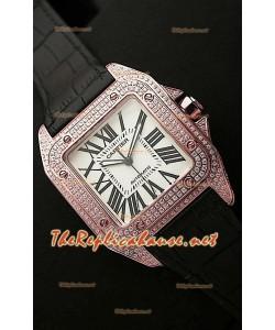 Cartier Santos 100 Iréplica Reloj Suizo para Señoras de 38MM- Réplica Escala 1:1