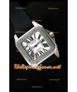 Cartier Santos 100 Reloj Suizo con Caja de Acero Réplica Escala 1:1 - 42MM