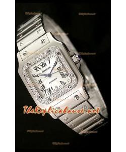 Cartier Santos Reproducción Reloj Suizo para Señoras   29MM con Diamantes en Bisel