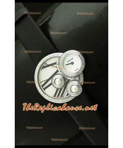 Perles de Cartier Reloj Suizo para Señoras  en Acero Inoxidable en Correa Negra