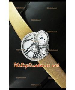 Perles de Cartier Reloj Suizo para Señoras  en Acero Inoxidable Correa en Oro