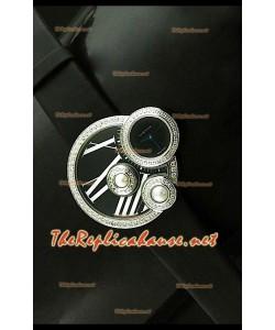 Perles de Cartier Reloj Suizo para Señoras en Acero Inoxidable y Esfera de color Negro