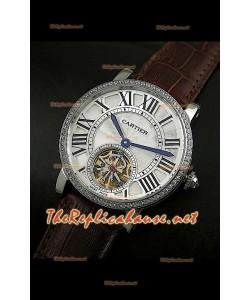 Cartier Calibre turbillón japonés malla marrón