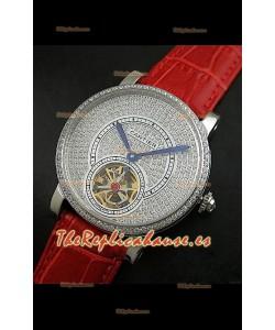 Reloj Turbillón Cartier Calibre con esfera de diamante y malla roja
