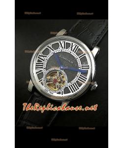 Reloj Turbillón Cartier Calibre con esfera de diamante y malla negra