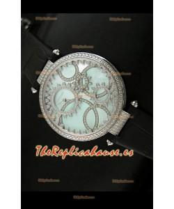 Cartier Réplica Bisel de diamantes Carcasa de acero inoxidable/Malla negra