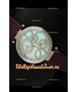 Cartier Réplica Bisel de diamantes Carcasa de acero inoxidable/Malla castaña