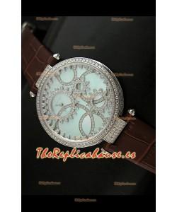 Cartier Réplica Bisel de diamantes Carcasa de acero inoxidable/Malla marrón