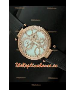 Cartier Réplica Bisel de diamantes Carcasa de oro/Malla negra