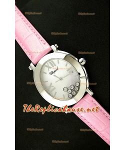 Chopard Happy Sport Reloj Japonés Señoras Penk en Piel