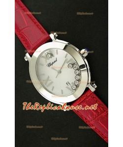 Chopard Happy Sport Reloj Japonés Señoras en Correa de Piel Roja