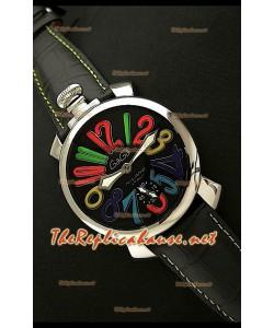 GaGa Milano Reloj Manual en Acero - 48MM  - Esfera Negra
