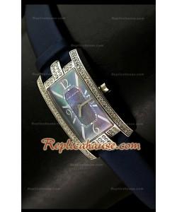 Harry Wenston Avenue C Reloj con Esfera Azul Perla