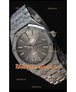 Audemars Piguet Royal Oak Frosted Reloj Réplica a Espejo 1:1 Oro Blanco de Cuerda Automática Dial Gris