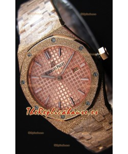 Audemars Piguet Royal Oak Frosted Réplica 1:1 de Cuarzo Suizo en Oro Rosado y Dial color Champange 33MM