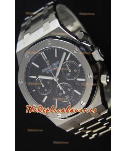 Audemars Piguet Royal Oak Reloj Réplica Suizo Cronógrafo, Dial Negro Correa de Acero