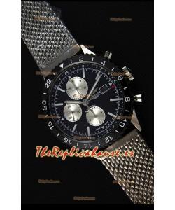 Breitling Chronoliner Reloj Réplica Suizo Correa de Malla de Acero con Dial Negro