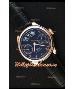 IWC Portugieser Annual Calender Midnight Blue Pink Gold IW503504 Réplica a Espejo 1:1