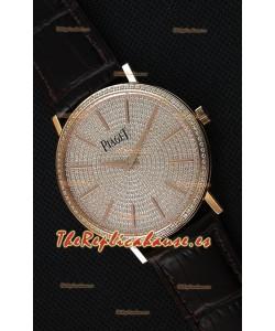Piaget Altiplano G0A36128 Paved Diam Dial Reloj Réplica de Cuarzo Suizo en Caja de Oro Rosado