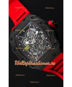 Richard Mille RM35-2 Rafael Nadal Caja de Carbón Forjado con Correa de Goma color Rojo