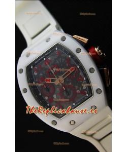 Richard Mille RM011-FM Felipe Massa Reloj con Caja de Cerámica color Blanco correa en color Blanco