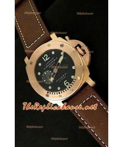Panerai Lumenor Reloj de Oro Rosa Sumergible con Esfera de color Negro - 47MM