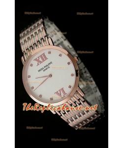Patek Philippe Reloj Japonés de Cuarzo en Oro Rosa - 38MM Esfera Blanca