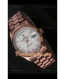 Rolex DayDate Reproducción Reloj Suizo en Oro Rosa