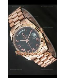 Rolex DayDate Reproducción Reloj Suizo en Oro Rosa y Esfera de color Negro