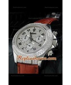 Rolex Daytona Reloj Suizo con Correa de Piel y Esfera de color Negro