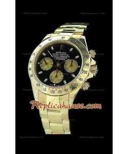 Rolex Daytona Reproducción Reloj Suizo con Esfera de color Negro y Sub-Esferas de Oro