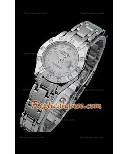 Rolex Datejust Reproducción Reloj Suizo para Señoras con Esfera Gris y Marcadores de Hora en Diamantes