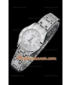 Rolex Datejust Reproducción Reloj Suizo para Señoras con Esfera Blanca y Marcadores de Hora en Diamantes