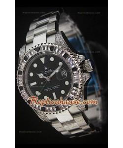 Rolex GMT Masters II Reproducción Reloj Suizo en Acero con Diamantes
